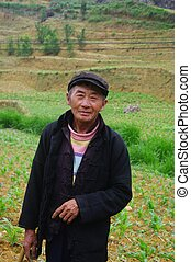 Black Hmong ethnic man - Hmong man in black fields with the...
