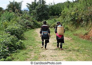 Black Hmong Minority women in a village of Vietnam - Black...