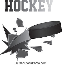 black hockey puck brokes isolated vector illustration