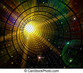 Black hole - 3d image of a wormhole / black hole