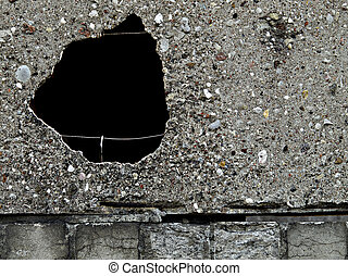 Black hole in a concrete wall