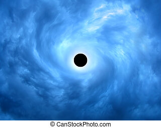 black hole in the whirlwind of dark storm clouds