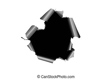 Black hole in white paper with ragged edge