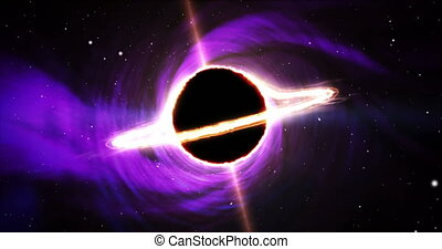 Black hole space. Vortex in galaxy center with massive object. Dark star with matter cloud swirl ring and energy jets. Universe, cosmos, science, gravitation and astronomy abstract concept.