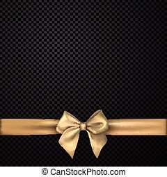 Black holiday background with golden bow.