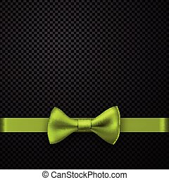 Black holiday background with green bow.