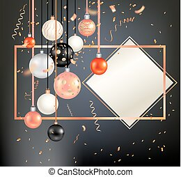 Black holiday template - Luxury decoration with balls winter...