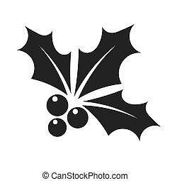 Black holly berry icon - Holly berry Christmas symbol black...