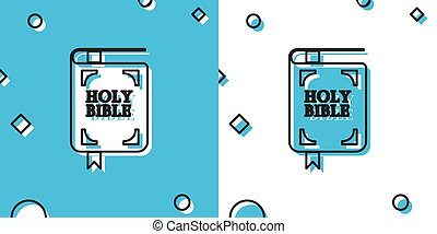 Black Holy bible book icon isolated on blue and white background. Random dynamic shapes. Vector Illustration
