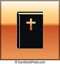 Black Holy bible book icon isolated on gold background. Vector Illustration