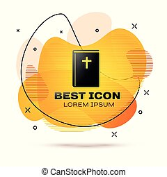 Black Holy bible book icon isolated on white background. Fluid color banner. Vector Illustration