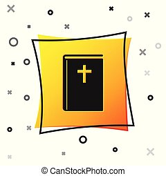 Black Holy bible book icon isolated on white background. Yellow square button. Vector Illustration