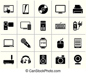 Black home electronics and personal multimedia devices icons