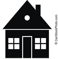 Black home icon on white