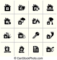 Black Home risk and insurance icons