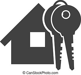 Black home with key icon
