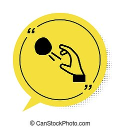 Black Hooligan shooting small stones icon isolated on white background. Demonstrator. Yellow speech bubble symbol. Vector