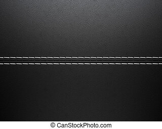 Black horizontal stitched leather background. Large...