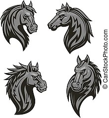 Black horse head mascot with tribal ornament