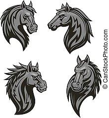 Black horse head mascot with tribal ornament