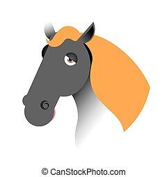 Black horse head. Muzzle hoss isolated on white background