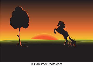 black horse - illustration, silhouette black on background...