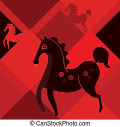 black horse on a red rhombus backg