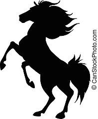 Black horse prancing silhouette. Vector illustration