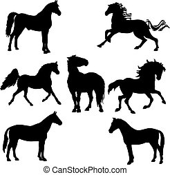 black horse silhouette clipart. vector illustration