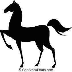 Black horse silhouette. Vector illustration