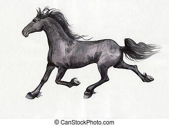 Black horse - Original watercolor painting of a black...