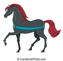 Black horse with red mane
