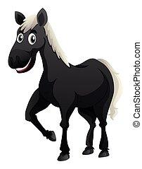 Black horse with white mane