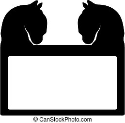 Black horses head on white background