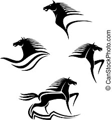 Set of black horses symbols for design isolated on white