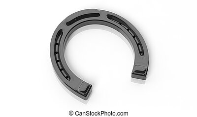 Black horseshoe, isolated on white background.