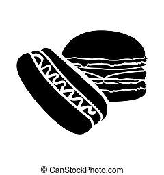 black hot dog and hamburger icon