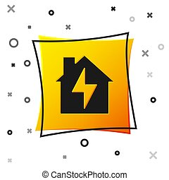 Black House and lightning icon isolated on white background. Home energy. Yellow square button. Vector