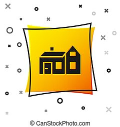 Black House icon isolated on white background. Home symbol. Yellow square button. Vector