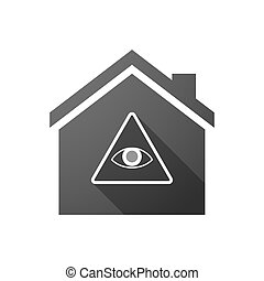 Black house icon with an all seeing eye