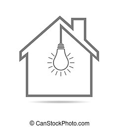 Black house with light bulb - vector illustration. Simple...