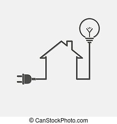 Black house with wire plug and light bulb - vector illustration