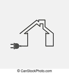 Black house with wire plug - vector illustration