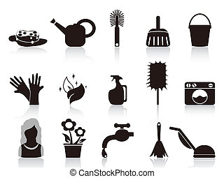 black household icons - isolated black household icons from...