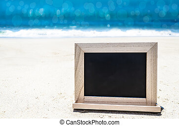 black , hout, chalkboard, op, de, zandig strand