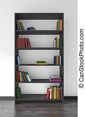 black , houten, boekenkast, met, velen, anders, boekjes