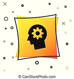 Black Human head with gear inside icon isolated on white background. Artificial intelligence. Thinking brain sign. Symbol work of brain. Yellow square button. Vector Illustration