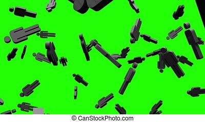 Black human shaped objects on green chroma key. Loop able...