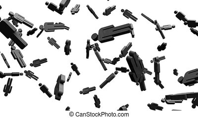Black human shaped objects on white background. Loop able...