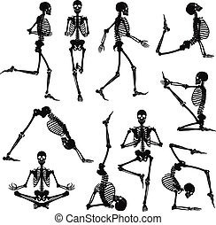 Human skeletons black silhouettes doing gymnastics and yoga asanas isolated on white background flat vector illustration